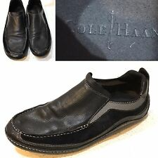 COLE HAAN AIR Mens Driving Shoes Soft Black Leather Moccasin Loafer Sz 9.5M