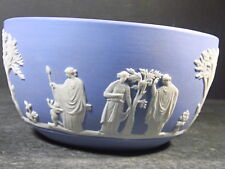 "Wedgwood White On Blue Bowl Sacrifice Figures 2 1/2"" H X 4 3/4"""