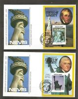 Nevis SC # 517-520 Statue Of Liberty Centenary FDC. Souvenir sheets .