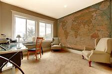Alte Weltkarte braun XXL Wanddekoration Schlafzimmer 336cm x 238cm