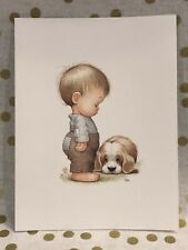 Vintage Ruth Morehead Greeting Note Card Little Boy Puppy Dog Unused + Envelope