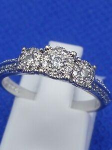 Beaverbrooks 9 Carat White Gold 0.33 Carat Diamond Cluster Ring Size M.5 3.1g