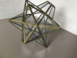 Vintage Morvian Star Glass & Gold Leaded Lightshade #6409