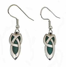 Silver Plated and Enamel Celtic Trinity Knot Ear Wire Earrings (3368)