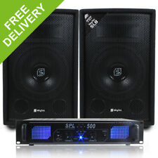 "2x Skytec 8"" PA Disco Speakers + Amplifier + Cables House Party DJ System 800W"