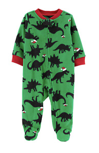 Carter's Baby Boy Christmas Dinosaur Fleece Footed Pajamas Size 6 Months NWT AB4