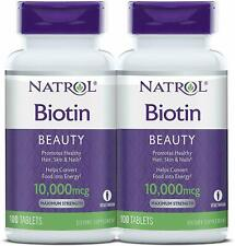 Natrol Biotin 10 000mcg Maximum Strength 100 Tablets Dietary Supplement