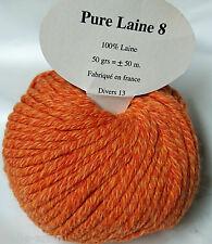 10 ovillos 100% lana pura color naranja - Hecho en francia