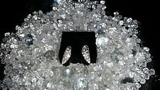 Avon Black and White Pave Earrings Silver-tone w/Rhinetones - New in Box