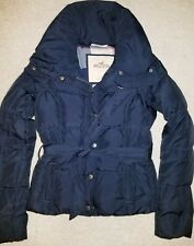 Hollister Navy Blue Belted Winter Puffer Coat Jacket Women's size Small