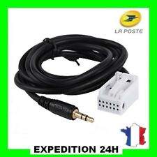 CABLE AUXILIAIRE AUX ADAPTATEUR MP3 POUR AUTORADIO PEUGEOT 207 12PIN RD4 GZ PRO