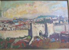 Israeli Art - Israel - A. Adler - JERUSALEM THE OLD CITY - Oil on Canvas -Unique