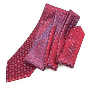 NWT Current BRIONI Necktie Red Blue Foulard Men's 100% Silk Tie Made in ITALY