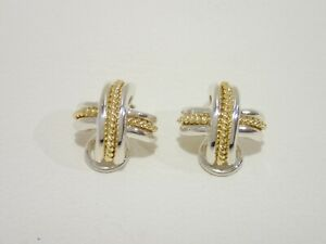 TIFFANY & CO. sterling silver / 18k yellow gold Signature X clip earrings