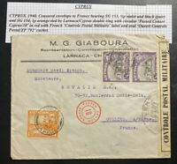 1940 Larnaca Cyprus Commercial Censored Cover To Oullins France