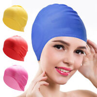 EB_ KF_ Swimming Cap Waterproof Silicone Swim Pool Hat Adult Men Long Hair Women