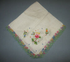 Vintage Embroidered Floral Handkerchief w/Multi Color Tatted Edge Linen