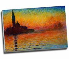 Claude Monet Sunset In Venice Canvas Print Wall Art Large 30x20 Inches A1