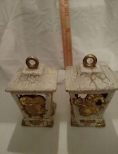 Shabby Chic Chrstmas Votive Candle Holder Ivory and Gold / lot of 2