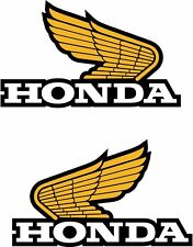 2 X Honda Alas Decal Sticker Moto Scooter Motocicleta Blanco y Dorado 85 mm