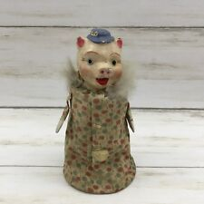 Vintage Chalk Pig Fabric Floral Dress Wobble Figurine