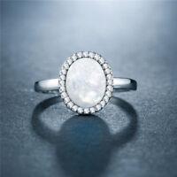 Elegant Wedding Rings for Women 925 Silver Oval Cut White Fire Opal Size 6-10