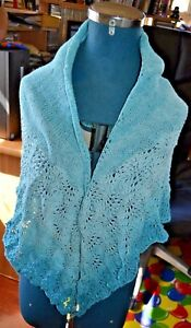 Ladies Cotton Lace Shawl hand knitted
