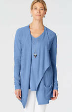 J. Jill - Gorgeous Linen Blend Lapis Draped-Front Cardigan, M may fit L