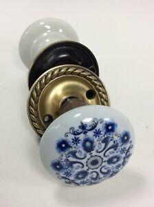 Vintage Blue & White Floral Ceramic Doorknob Pair With Brass- Portugal
