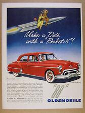 1950 Oldsmobile Rocket 88 Sedan red car illustration art vintage print Ad