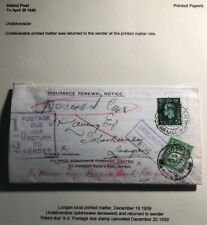 1939 Lungan England Postage Due Cover Locally Used Insurance Renewal Notice