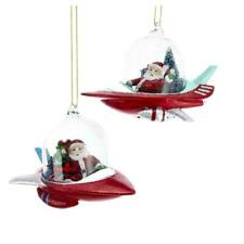 SET OF 2 SANTA IN SPACESHIP ORNAMENTS Outer Space Age Mid-Century Christmas Tree