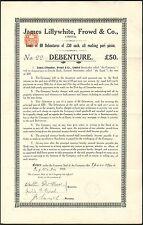Sporting Goods: James Lillywhite, Frowd & Co. Ltd., £50 debenture, 1916