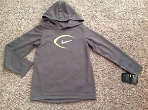 NIKE Boy DRY Hooded Hoodie Size 4 7 Gray New