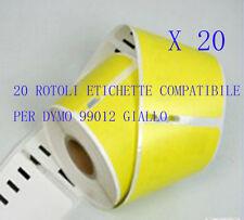 20 X Etichette Compatibili per DYMO 99012 Giallo 89X36mm LABELWRITER 310 320 330