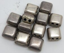 Lot of 12 Vintage 15mm Square Chunky Puffy Silverplate Jewelry Beads (RF950-29)