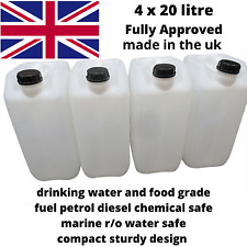4 x 20 litre new plastic bottle jerry can water container brand new compact