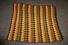 "50"" x 58""  vintage AUTUMN COLOR - ORANGE BROWN + stripe AFGHAN  CHIC DORM READY"