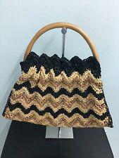 Straw Handbag Raffia Wood Handles Armani Exchange A/X