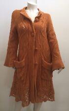 Ivko Anthropology Womens Long Sweater Cardigan Yellow Knit Size M L XL