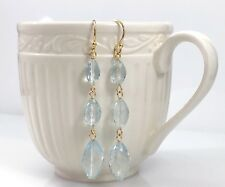 Genuine Aquamarine (18.62ct) & Solid 14K Yellow Gold Dangle Earrings, New