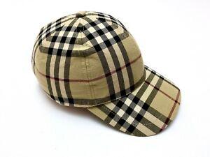 Vintage Men's Auth Burberry London Beige Nova Check Baseball Cap - One Size