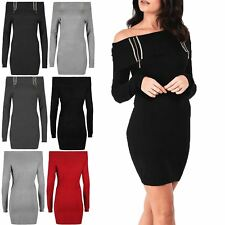 Womens Ladies Off Shoulder Stud Zip Up Knitted Long Tunic Jumper Bodycon Dress