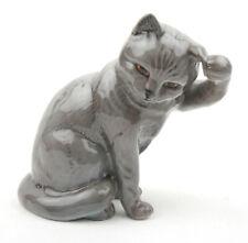 Beswick Cats - British Blue (Lead Grey) Cat, Scratching Ear No.1877 1964-1966