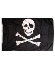 "Jollly Roger Skull & Crossbones Pirate Large Synthetic Flag - 5 x 3"" 150 x 90 cm"