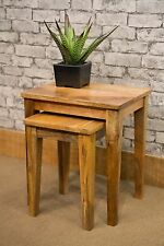 SOLID NATURAL MANGO WOOD SHAPED LEG NEST OF 2 TABLES MANTIS SIDE TABLE
