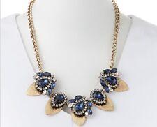 53a43c7e1bc2 Azul Cristal Dorado Lágrima Collar Largo Jules Smith Azul Zafiro Cadena  Nueva