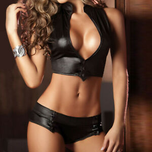 Womens V-Neck Patent Leather Bandage Lingerie Set Stripper Clubwear Underwear