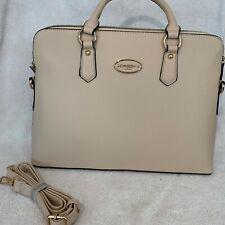 Dasein Womens Handbag Tan Leather Satchel Briefcase Tote Shoulder iPad Bag Purse