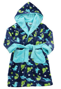 Childrens / Boys Dinosaur Print Fleece Dressing Gown / Robe ~ 2-6 Years